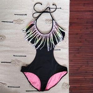 PINK Victorias Secret Black Neon Fringe Monokini M